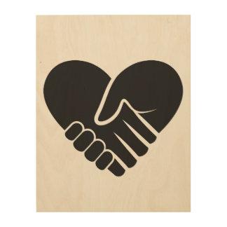 Impressão Em Madeira Coração preto conectado amor