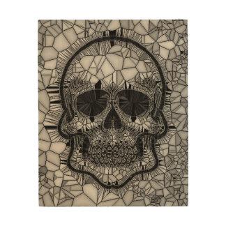 Impressão Em Madeira Crânio de vidro do mosaico, branco preto