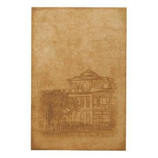 Impressão Em Madeira Desenho do vintage da construção