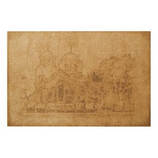 Impressão Em Madeira Desenho do vintage da igreja