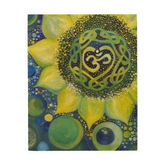 Impressão Em Madeira Design amarelo de Chakra da coroa do girassol