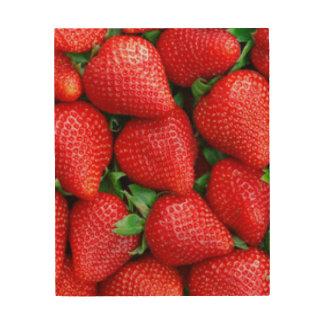 Impressão Em Madeira Design vermelho do teste padrão das morangos