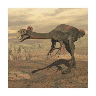 Impressão Em Madeira Dinossauro de Gigantoraptor no deserto - 3D rendem