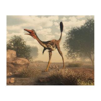 Impressão Em Madeira Dinossauro de Mononykus no deserto - 3D rendem