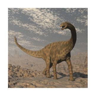 Impressão Em Madeira Dinossauro de Spinophorosaurus que anda no deserto