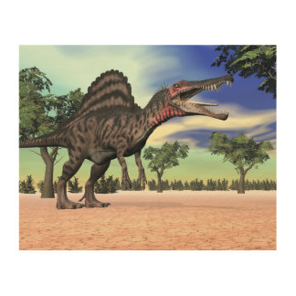 Impressão Em Madeira Dinossauro de Spinosaurus no deserto - 3D rendem