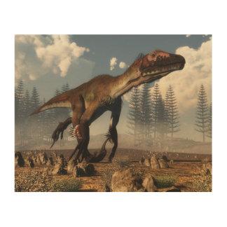 Impressão Em Madeira Dinossauro de Utahraptor no deserto - 3D rendem