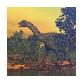 Impressão Em Madeira Dinossauros do Ampelosaurus