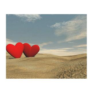 Impressão Em Madeira Dois corações na praia - 3D rendem