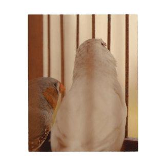 Impressão Em Madeira Dois pássaros bonitos do passarinho na gaiola