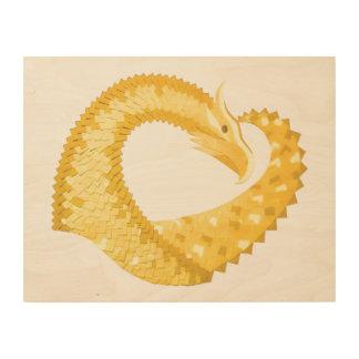 Impressão Em Madeira Dragão amarelo do coração