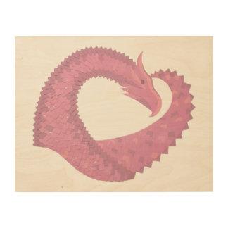 Impressão Em Madeira Dragão cor-de-rosa do coração