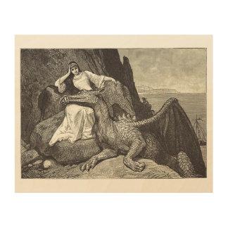 Impressão Em Madeira Dragão do animal de estimação e a donzela