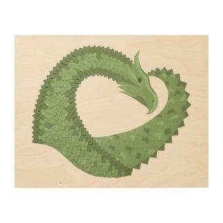 Impressão Em Madeira Dragão do coração da verde azeitona