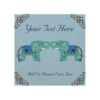 Impressão Em Madeira Elefante do Henna (azul/luz - azul)