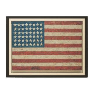 Impressão Em Madeira Estados antigos da bandeira americana 48 quadro