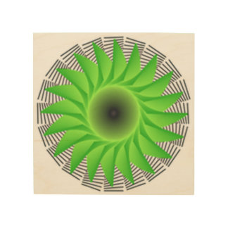 Impressão Em Madeira flor verde