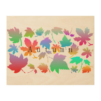 Impressão Em Madeira Folhas de outono coloridas