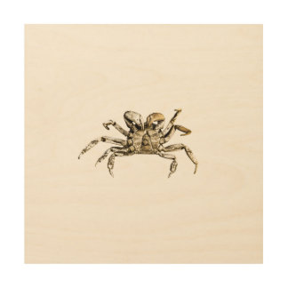 Impressão Em Madeira Foto escura do caranguejo
