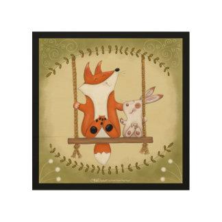 Impressão Em Madeira Fox da floresta e balanço do coelho
