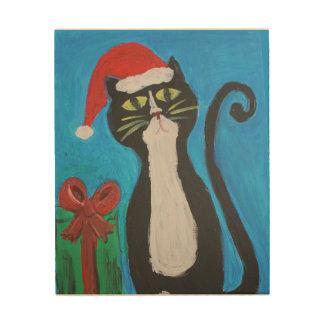 Impressão Em Madeira Gato do Natal da arte popular