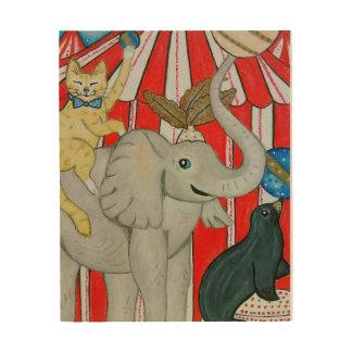 Impressão Em Madeira Gato no circo com elefante e selo