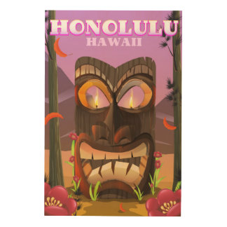 Impressão Em Madeira Honolulu Havaí o poster de viagens da máscara