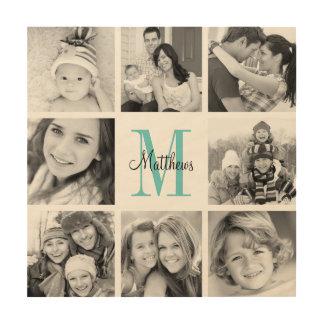 Impressão Em Madeira Impressão da arte da colagem da foto de família do