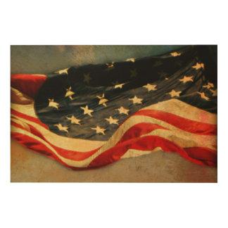 Impressão Em Madeira Impressão de madeira Antiqued 36 x 24 da bandeira