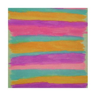 Impressão Em Madeira Impressão de madeira da arte abstracta das listras