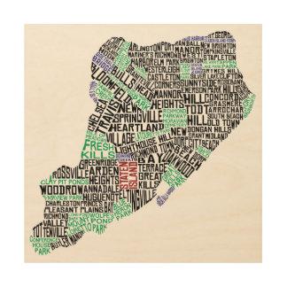 Impressão Em Madeira Impressão de madeira da arte tipográfica do mapa