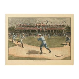 Impressão Em Madeira Jogo de basebol 1886 da liga nacional