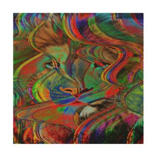 Impressão Em Madeira Leão abstrato