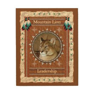 Impressão Em Madeira Leão de montanha - canvas da madeira da liderança