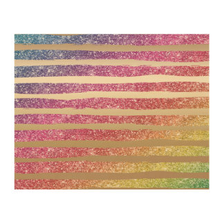 Impressão Em Madeira Listras do ouro do brilho do arco-íris do falso