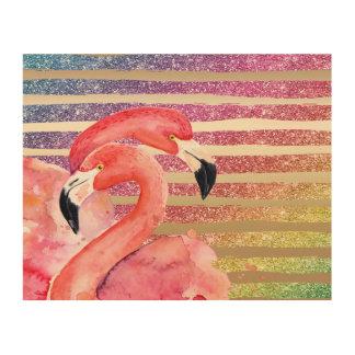 Impressão Em Madeira Listras do ouro do brilho dos flamingos da