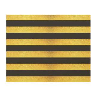 Impressão Em Madeira Listras modernas do preto da folha de ouro do