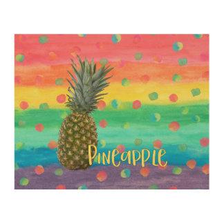 Impressão Em Madeira Listras na moda e pontos do arco-íris do abacaxi
