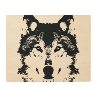 Impressão Em Madeira Lobo preto da ilustração