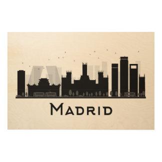 Impressão Em Madeira Madrid, espanha skyline preta & branca de | da