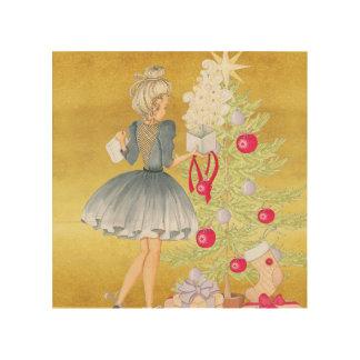 Impressão Em Madeira Mágica do Natal - louro que decora uma árvore