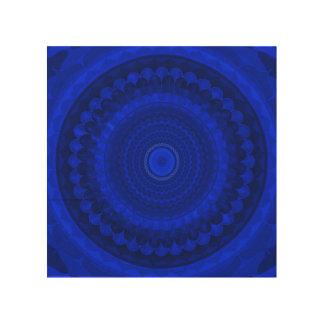 Impressão Em Madeira Mandala azul