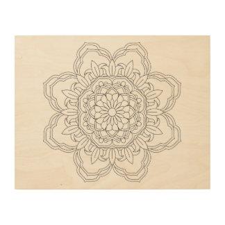 Impressão Em Madeira Mandala da flor. Elementos decorativos do vintage.