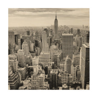 Impressão Em Madeira Manhattan, New York (panorama preto & branco)