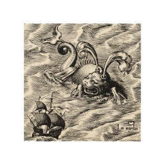 Impressão Em Madeira Mapa do mundo ártico do monstro de mar e do navio