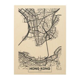Impressão Em Madeira Mapa preto e branco da cidade de Hong Kong, China