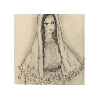 Impressão Em Madeira Mary com rosas