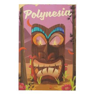 Impressão Em Madeira Máscara de Polinésia Tiki