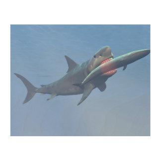 Impressão Em Madeira Megalodon que come uma baleia