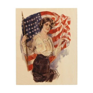 Impressão Em Madeira menina da bandeira americana do vintage